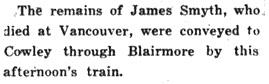 Blairmore Enterprise, November 1, 1934, Page 8, Item Ar00803; http://peel.library.ualberta.ca/newspapers/BME/1934/11/01/8/Ar00803.html?query=newspapers%7C%22james+smyth%22%7C%7Cscore.