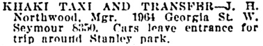 Vancouver Daily World, July 26, 1920, page 20, column 2.