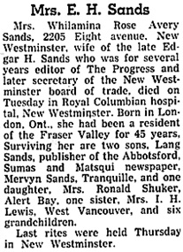 The Chilliwack Progress (Chilliwack, British Columbia), April 23, 1947, page 12, column 3.
