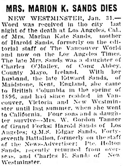 Vancouver Daily World, January 31, 1919, page 19, column 6.