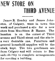 Bassano News, August 17, 1911, Page 1, Item Ar00108; http://peel.library.ualberta.ca/newspapers/BSN/1911/08/17/1/Ar00108.html.