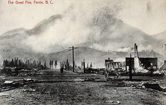 The Great Fire, Fernie, British Columbia, postcard, probably 1908; Simon Fraser University; MSC130-1173-01; http://digital.lib.sfu.ca/bcp-3173/msc130-1173-01.