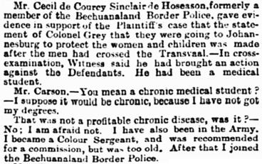 The Jameson Raid, The Standard (London, England), May 6, 1899, page 4, column 2.