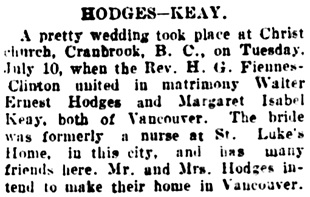 Vancouver Daily World, July 19, 1906, page 16, column 4.