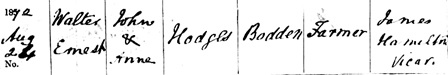 Somerset Heritage Service; Taunton, Somerset, England; Somerset Parish Records, 1538-1914; Walter Ernest Hodges; Baptism: 26 Aug 1872, Doulting, Somerset, England.