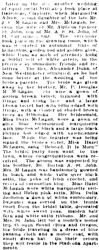 Vancouver Daily World, September 7, 1911, page 10, column 4.