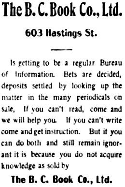Vancouver Daily World, June 11, 1902, page 4, column 5.