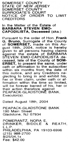 Barbara Steven [sic] Emo-Capodilista, notice to prove claims against estate; The Courier-News (Bridgewater, New Jersey), August 25, 2004, Main Edition, page 11.
