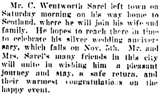 Society, Vancouver Daily World, October 3, 1910, page 5, columns 1-2.