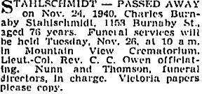 Charles Burnaby Stahlschmidt, death notice, Vancouver Sun, November 25, 1940, page 14, column 1; https://news.google.com/newspapers?id=BTRlAAAAIBAJ&sjid=QIkNAAAAIBAJ&pg=1740%2C4139712.