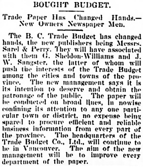 Vancouver Daily World, October 17, 1901, page 8, column 5.