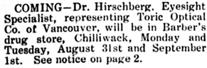 The Chilliwack Progress, August 20, 1914, page 4, column 1.