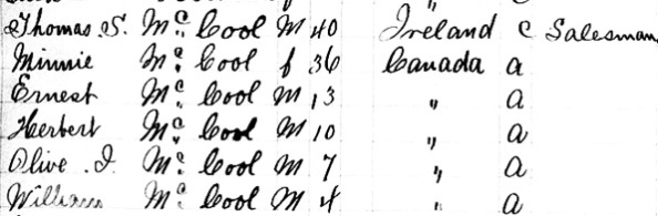 """New York State Census, 1892,"" database with images, FamilySearch (https://familysearch.org/ark:/61903/1:1:MQ3T-CP6 : 6 November 2014), Ernest Mccool, 1892; citing Brooklyn, Ward 18, E.D. 50, county offices, New York; FHL microfilm 1,930,238."