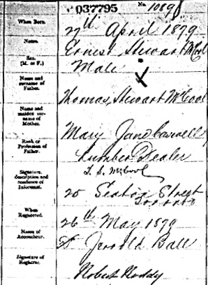 """Ontario Births, 1869-1912,"" database with images, FamilySearch (https://familysearch.org/ark:/61903/1:1:FMWR-BL9 : 16 July 2017), Ernest Stewart Mccool, 27 Apr 1879; citing Birth, Toronto, York, Ontario, Canada, citing Archives of Ontario, Toronto; FHL microfilm 1,845,224."
