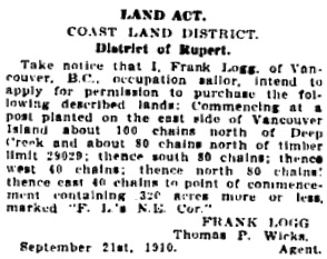 "Vancouver Daily World, November 12, 1910, page 43, column 3. [Occupation listed as ""sailor"" rather than ""tailor""]."