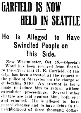 Vancouver Daily World, October 18, 1905, page 7, column 3.