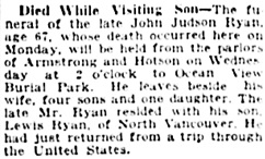 Vancouver Daily World, September 19, 1922, page 9, column 3.