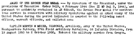 Korean War Project 2ID General Orders – 01102228; http://www.koreanwar2.org/kwp2/usa/2id/go/USA_2ID_GO_1951_55-60.pdf.