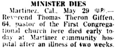 Santa Cruz Sentinel (Santa Cruz, California), May 30, 1945, page 10, column 7.