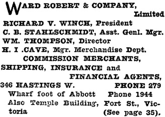 Henderson's City of Vancouver Directory, 1908, page 1013.
