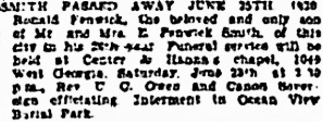 Vancouver Sun, June 27, 1930, page 26, column 1; https://news.google.com/newspapers?id=rS5lAAAAIBAJ&sjid=1IgNAAAAIBAJ&pg=1834%2C7219482 [link leads to column 2; death notice is in column 1].