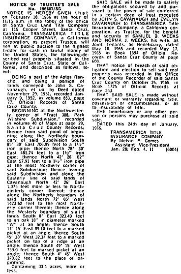 Santa Cruz Sentinel (Santa Cruz, California), February 11, 1966, page 16, column 2.
