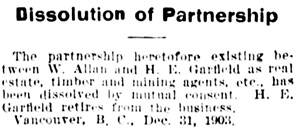 Vancouver Daily World, January 12, 1904, page 6, column 4.