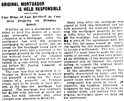 """Original Mortgagor is Held Responsible,"" Vancouver Daily World, April 25, 1918, page 14, column 1."