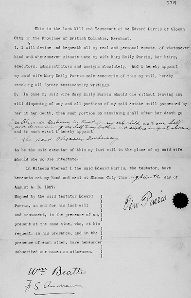 Will of Edward Parris, British Columbia Supreme Court (Victoria), central will registry, will number 5719; https://www.familysearch.org/ark:/61903/3:1:3QSQ-G9SD-1D3R?i=1178&wc=M6VR-729%3A285567101%2C285570301&cc=2001882.