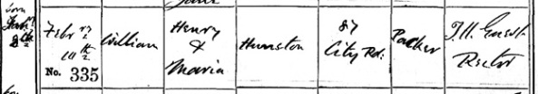 """England, Manchester, Parish Registers, 1603-1910,"" database with images, FamilySearch (https://familysearch.org/ark:/61903/1:1:FM1M-DZQ : 18 July 2017), William Hunston, 10 Feb 1878, Christening; citing St Mark, Hulme, Lancashire, England, Manchester Central Library, England; FHL microfilm 2,357,302."