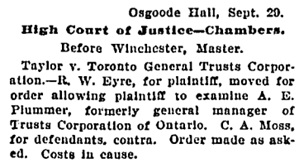 Osgoode Hall News, Toronto Globe, September 30, 1902, page 7, column 1.
