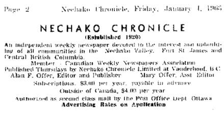 Nechako Chronicle, Vanderhoof, British Columbia, January 4, 1963, page 2; http://archive.vanderhooflibrary.com/archive/NechakoChronicle/1963/19630104/nc-1963-01-04-02.pdf.