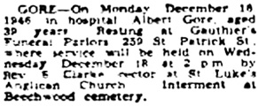 Albert Gore, death notice, Ottawa Journal, December 18, 1946, page 24, column 1.