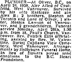 Alec Alfred Plummer, death notice, Vancouver Province, April 25, 1958, page 28; Vancouver Sun, April 25, 1958, page 30; https://news.google.com/newspapers?id=P5RlAAAAIBAJ&sjid=EIoNAAAAIBAJ&pg=1234%2C5102634.