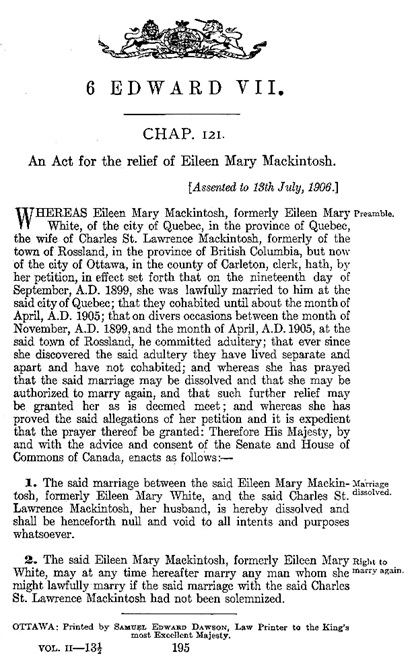An act for the relief of Eileen Mary Mackintosh; Statutes of Canada, 1906, chapter 121; https://archive.org/stream/actsofparl1906v02cana#page/195/mode/1up.