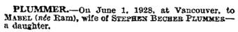 Ann Becher Plummer - birth notice - The Times - London - England - June 4 1928 - page 1