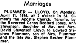 Toronto Globe and Mail, April 12, 1966, page 11, column 1.