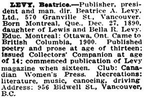 Who's Who in Western Canada: A Biographical Dictionary of Notable Living Men and Women in Western Canada, Volume I, C. W. Parker, Vancouver, Canadian Press Association Limited, 1911, page 239; https://open.library.ubc.ca/collections/bcbooks/items/1.0348960#p241z-4r0f: