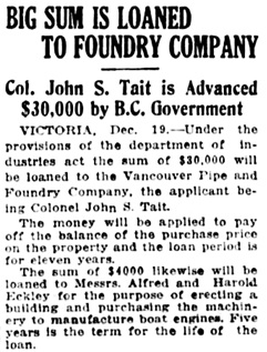 Vancouver Daily World, December 19, 1919, page 2, column 6.