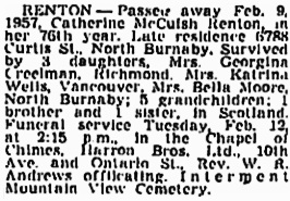 Catherine McCuish Renton, Vancouver Sun, February 12, 1957, page 26; https://news.google.com/newspapers?id=_j1lAAAAIBAJ&sjid=y4kNAAAAIBAJ&pg=1239%2C1842246; [same as Vancouver Province, February 12, 1957, page 32].