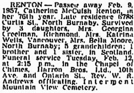 Catherine McCuish Renton, Vancouver Sun, February 12, 1957, page 26; https://news.google.com/newspapers?id=_j1lAAAAIBAJ&sjid=y4kNAAAAIBAJ&pg=1239%2C1842246; [same as Vancouver Province, February 12, 1957, page 32].