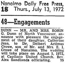 Nanaimo Daily News, July 13, 1972, page 18, column 8.