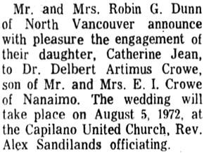 Nanaimo Daily News,Thursday, July 13, 1972, page 8, column 2.