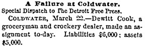 Detroit Free Press, March 23, 1876, page 1, column 7.