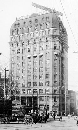 Dominion Trust Building, about 1912, Vancouver City Archives, Bu P58.3; http://searcharchives.vancouver.ca/exterior-of-dominion-trust-building-207-w-hastings-street-2.
