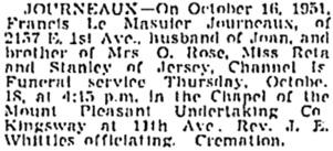 Vancouver Sun, October 17, 1951, page 37; https://news.google.com/newspapers?id=AfZlAAAAIBAJ&sjid=p4kNAAAAIBAJ&pg=2365%2C2959048. [same as Vancouver Province, October 17, 1951, page 31].