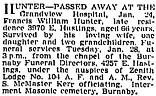 Francis William Hunter, death notice, Vancouver Sun, January 25, 1941, page 17, column 8; https://news.google.com/newspapers?id=CDJlAAAAIBAJ&sjid=L4kNAAAAIBAJ&pg=3292%2C3018872 [link leads to article above death notices].