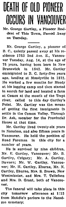 Nanaimo Daily News, August 15, 1917, page 1, column 6.