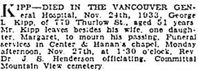 Vancouver Sun, November 25, 1933, page 24, column 1; https://news.google.com/newspapers?id=Ki9lAAAAIBAJ&sjid=2ogNAAAAIBAJ&pg=3412%2C3071943; [same as death notice, Vancouver Province, November 25, 1933, page 19].