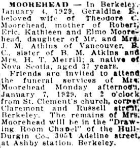 Oakland Tribune, January 5, 1929, page 21, column 9.